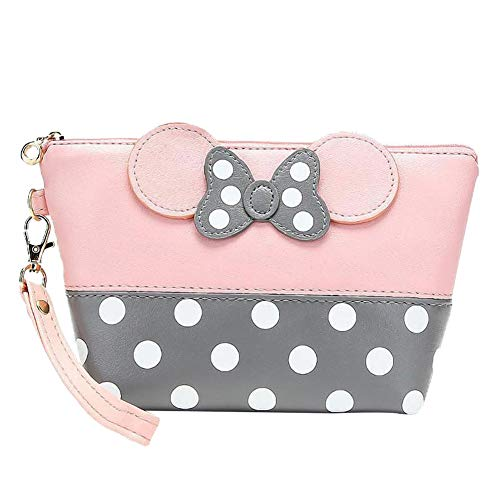 Dots Pu Leater Makeup Handbag Cartoon Bow Cosmetic Portable Bag Pink Multifunction Travel Makeup Case with Zipper Toiletry Pouch for Women Girls Christmas Gift