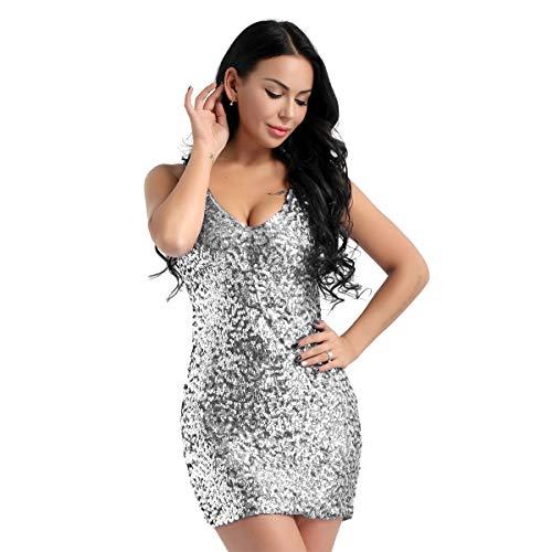 Tiaobug Damen Festlich Pailletten Kleid V Ausschnitt sexy Minikleid Tank Top Bodycon Cocktailkleid...