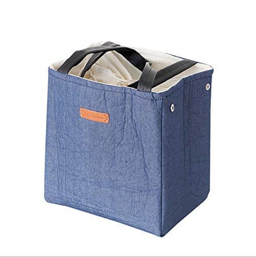 HMMJ Bolsa de Almuerzo con Aislamiento, Caja isotérmica de Lino de algodón Bolsa más Fresca, Bolsa de Almuerzo Plegable portátil Impermeable y Resistente al Desgaste para Mujeres (Color : Blue)