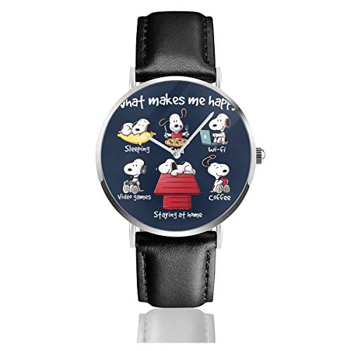Unisex Business Casual Snoopy Staying at Home Makes Me Happy Watches Quarzuhr Lederarmband schwarz für Herren Damen Young Collection Geschenk