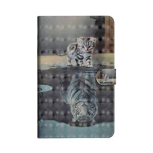 Coopay für Samsung Galaxy Tab A 7.0 T280 Lederhülle,Glitzer 3D Fläche Ständer Funktion Bookstyle Ledertasche Brieftasche Tasche Etui Wallet Case Cover Schutzhülle,Flip Etui Schale Hüllen,Katzen Tiger