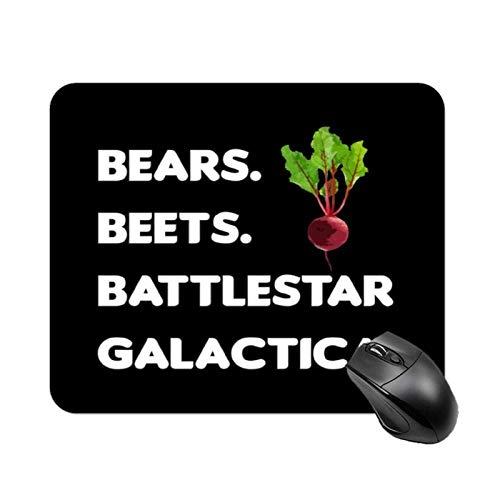 Bears Beets Battlestar Galactica Dwight Schrute The Office Alfombrilla de mesa antideslizante de alta velocidad para juegos, Alfombrilla de ratón con base de goma cuadrada para oficina, Alfombrilla de