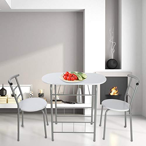 Cocoarm Dining Table Chairs Set 1 Table+2 Chairs Premium Non-Toxic Durable Steel + MDF Fashionable Home Kitchen Breakfast Table Chairs Dinner Furniture Set for Dining Room