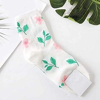 Calcetín de algodón para Mujer Plantas Jacquard Flores Patrón Impresión Arte Calcetines Mujeres Diente de León Calcetines Girasol Suave