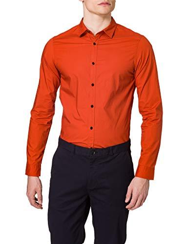 Scotch & Soda Herren Regular Fit Shirt aus Baumwoll-Popelin Hemd, 2916 Burned Orange, XL