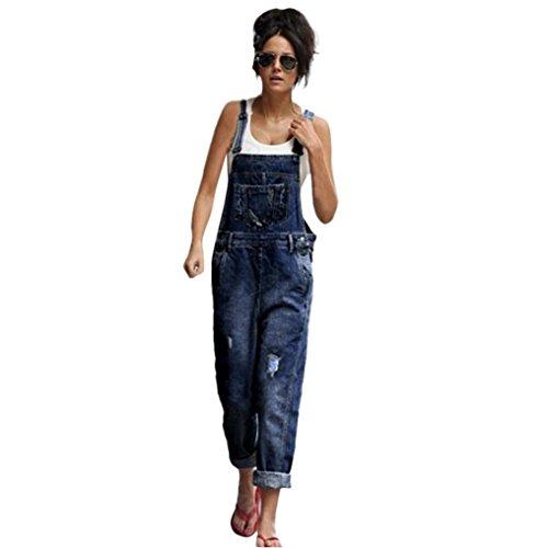 MCYs Damen Latzhosen Klassisch Retro Lose Denim Hosen Strap Loch lose Overalls Jeans Cowboy Stitching Spielanzug Jumpsuit Overall mit Knöpfen (L)