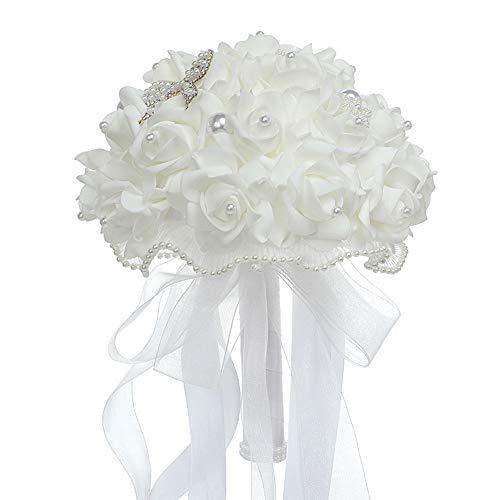 Heritan, bouquet da sposa in schiuma artificiale, bouquet da sposa, bouquet da damigella d'onore, fiori