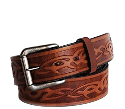 "R.G. BULLCO - USA Made - 1-1/2"" Full Grain Belt with Oil Tanned Solid Thick Leather and Celtic Barb Design - Brown - Size 50 - RGB-125X"