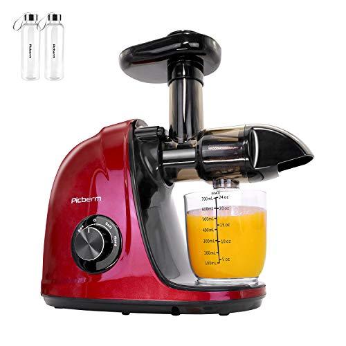 Entsafter,Picberm Slow Juicer BPA-frei mit 2 Geschwindigkeitsmodi Entsafter Gemüse und Obst Ruhiger Motor und Umkehrfunktion und Reinigungsbürste Rot