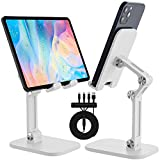 CVIDA Cell Phone Stand,+ 5A 3 in 1 Super Fast Multi Charging Cable +Cable Organizer , Foldable Phone Holder, Angle Height Adjustable Cell Phone Stand for Desk, Compatible with 4'-12.9' Devices-White