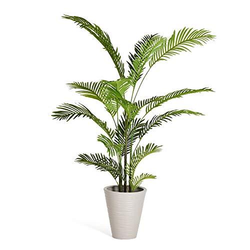 4Ever Green Künstliche Große Grüne Phoenix Palme Farnpalme Kokospalme Baum Kunstpflanze Kunstblume Kunstbaum Zimmerpflanze im Plastik Topf, 150 cm Hoch