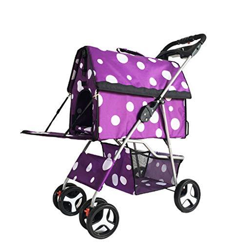 MRZ Split Huisdier Kinderwagen, Hond Kat Auto, Winkelmandje Draagbare Verstelbare Zonnescherm 4 Wiel Winkelen, Paars