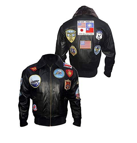 Dunhill Leather Neue Top Gun Bomber Brown Flight Tom Cruise Amerikanische Bomber Lederjacke-4xl