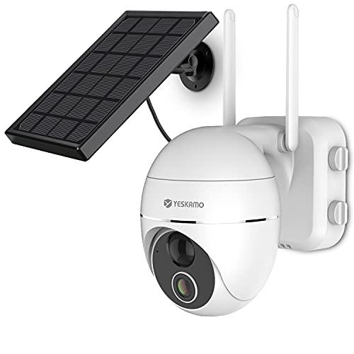 YESKAMO Pan Tilt Solar Security Camera Outdoor Wireless WiFi, 15000mAh Rechargeable Battery IP Camera, 2.4G PTZ Solar Power Video Camera 2 Way Audio, Home Surveillance System PIR Detection