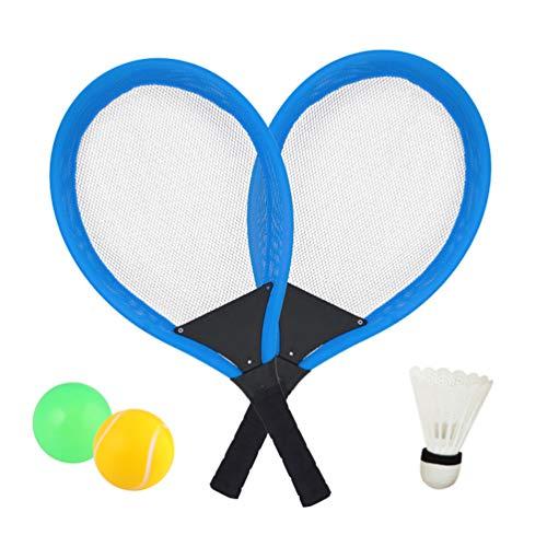Dreamon Tennisschläger Racket Set mit Badminton bälle Softball Strandspielzeug im Freien für Kinder ab 3 4 5 Jahren (Blau)