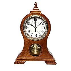 Beesealy Mantel Clock, Modern Silent Mantel Clock, Table Clock with Pendulum, Table Clocks for Living Room Decor, Desktop, Desk Clock