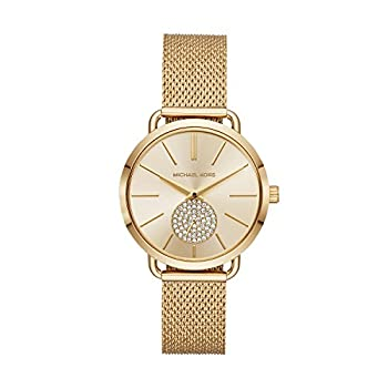 Michael Kors Women s Portia Stainless Steel Analog-Quartz Watch with Stainless-Steel Strap Gold 16  Model  MK3844