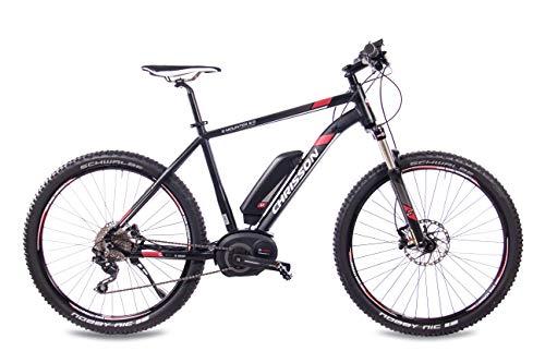 411qHCDUuqL - CHRISSON 27,5 Zoll E-Bike Mountainbike Bosch - E-Mounter 2.0 schwarz 48cm - Elektrofahrrad, Pedelec für Damen und Herren mit Bosch Motor Performance Line 250W, 63Nm - Intuvia Computer und 4 Fahrmodi
