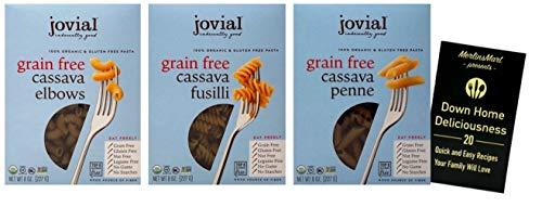Jovial Organic Gluten-Free Grain-Free Cassava Italian Pasta 3 Shape Variety | 1 each: Penne, Fusilli, Elbows (8 Ounces) | Plus Recipe Booklet Bundle