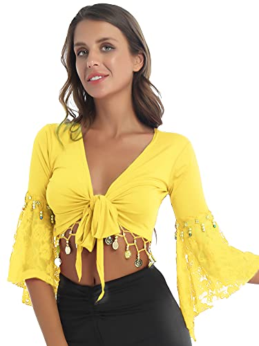 IEFIEL Top de Danza del Vientre Mujer Crop Top Manga Larga de Danza Oriental Chal Corto de Fiesta Disfraz de Bailarina Mujer Amarillo L