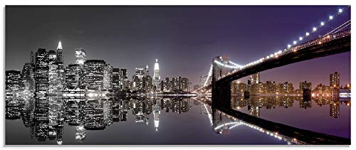 Artland Glasbilder Wandbild Glas Bild 125x50 cm Querformat Amerika USA Städte Gebäude New York Skyline Nacht Schwarz Weiß S6FD