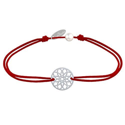 Joyas Les Poulettes - Pulsera de Enlace Medalla de Plata Mandala Semilla de Vida - Rojo