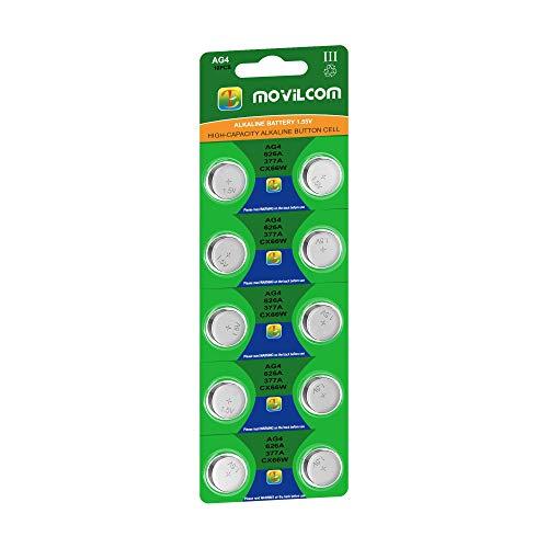 MovilCom - Pila botón AG4 Pila Reloj 1.5V Equivalente a 377, 377A, LR626, V377, 377S, D377, SR626SW, SR66, SR626, S626E, SR628SW, LR626SW, SR66SW, SR625SW