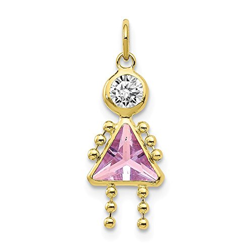 10k Yellow Gold June Girl Birthstone Pendant Charm Necklace Kid Fine Jewelry For Women Gifts For Her