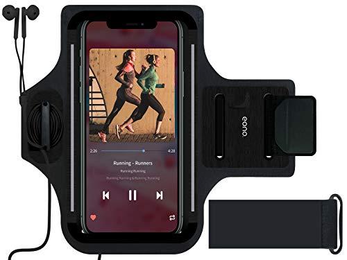 Eono by Amazon - Fascia da Braccio Running per iphone, Samsung e più Telefoni Portacellulare per Correre Ultra Comfort per Corsa, Jogging, Ciclismo, Escursionismo e Attività All'aperto (Nero)