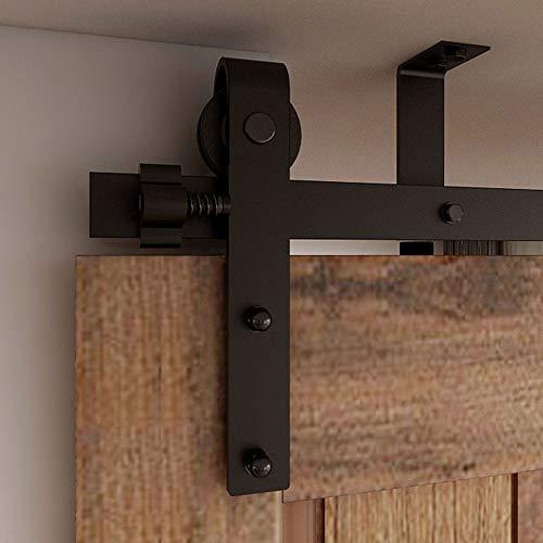 CCJH 200cm/6.6FT Herrajes Puertas Correderas Soporte de Techo Kit de Accesorios para Puertas Corredizas, Kit de Riel Adecuado para 1 Puerta Granero