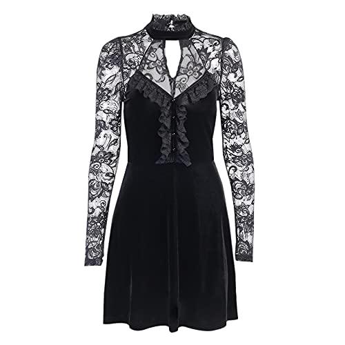 Vestidos de Mujer Sexy Hollow out Negro Vestido Gótico Terciopelo Alto Cintura...