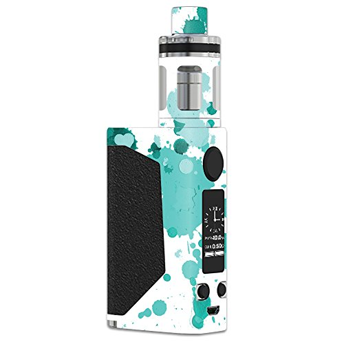 MightySkins Skin Compatible with JoyeTech eVic Primo – Teal Splatter | Protective, Durable, and Unique Vinyl Decal wrap Cover | Easy to Apply, Remove, and Change Styles | Made in The USA
