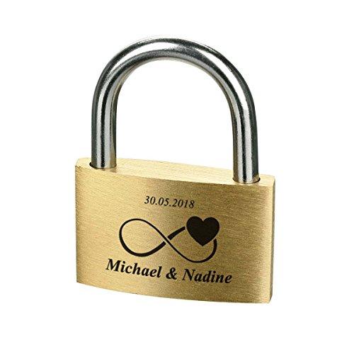 polar-effekt Liebesschloss mit Gravur - Messing Vorhängeschloss mit 3 Schlüssel - Personalisierte Geschenk für verliebte - Motiv Unendlichkeit mit Herz