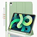 iMieet iPad Air 4th Generation Case 2020, iPad 10.9 Inch Case 2020 with Pencil Holder [Support iPad 2nd Pencil Charging/Pair],Trifold Stand Smart Case with Soft TPU Back,Auto Wake/Sleep (Matcha Green)