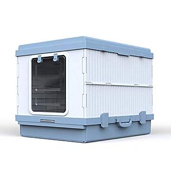 JYZT Toilette pour Chat Pliable Entièrement Fermée Portable avec Tiroir bac À Litière Grand Chat Envoyer Une Pelle À Litière pour Chat Facile À Nettoyer Voyage Disponible Blue