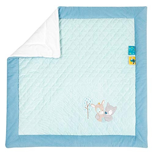 Nattou 498340 Manta de juegos, Tim y Tiloo, 100 x 100 cm, Azul