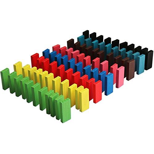 BlueSnail 10 Colors Authentic Standard Basswood Wooden Domino Blocks Set Kids...