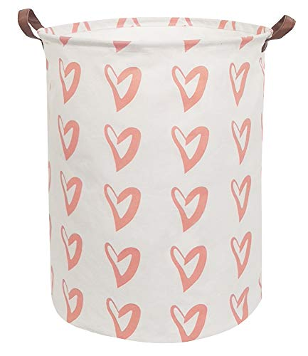 CLOCOR Large Storage Basket,Canvas Fabric Waterproof Storage Bin Collapsible Laundry Hamper for Home,Kids,Toy Organizer (Orange Heart)