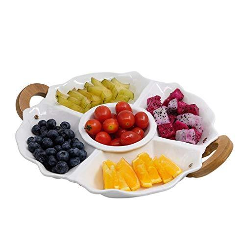 Creativa caja de caramelos Placa de fruta europea, placa de fruta de cerámica en casa, placa de placa múltiple siamesa, placa de fruta secada, blanco Plato de frutas