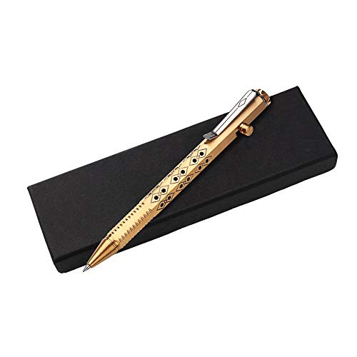 SMOOTHERPRO Solid Brass Bolt Action Pen Compatible with Pilot G2 Refill Stainless Steel Clip Tungsten Tactical Tip Hexagonal Six Edge Grip for Pocket Business EDC Signature Color Bronze(PT636)