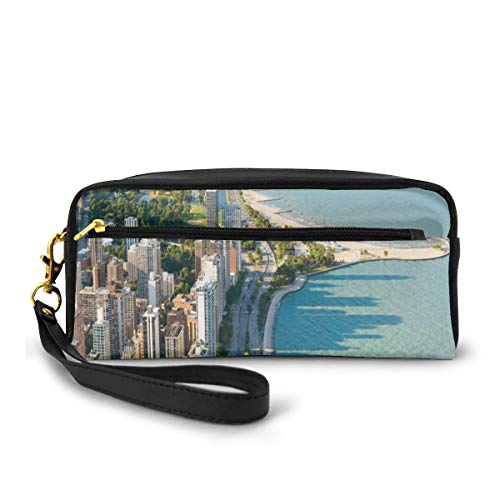Pencil Case Pen Bag Pouch Stationary,Aerial View of Chicago from Hancock Centre by The Ocean Scenic Summer States,Small Makeup Bag Coin Purse