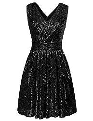 Sleeveless Short Sequin Black Dress