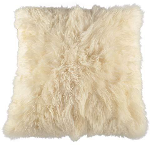 Generisch lamsvel poef zitkussen vloerkussen Pouf 80 x 80 cm crème wit XXL lamsvel zitkussen van echte Britse lamsvacht van KUHFELLE online