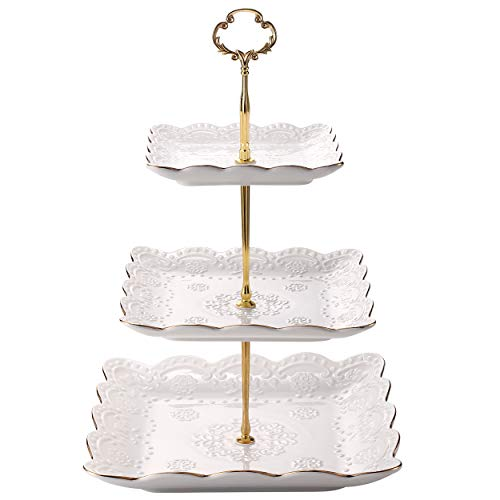 Sumerflos 3-Tier Square Porcelain Cake Stand, White Rimmed with Gold Embossed Cupcake Dessert Stand - Tiered Serving Tray for Tea Party and Baby Shower