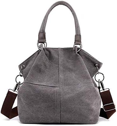 H/A 2020 New Shoulder Bag Fashion Wild Simple Solid Color Casual high-Capacity Portable Canvas Bag Lady Fashion MENGB (Color : Grey, Size : 33X29X15CM)