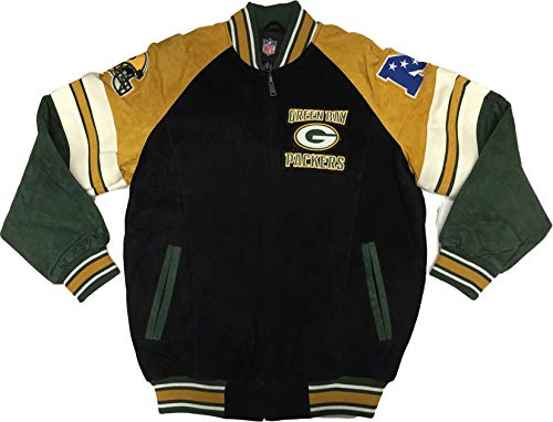 Green Bay Packers Men's Varsity Suede Leather Jacket (X-Large)