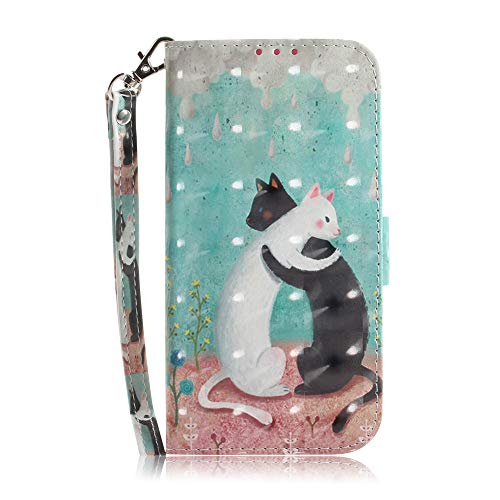 JZ 3D Colorful Painting Series Custodia For Per Samsung S21 / S21 5G Wallet Flip Cover With [Wrist Strap] - Black-And-White Cat