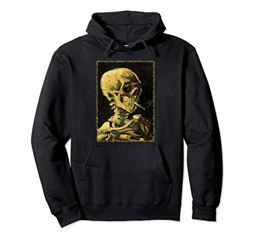 Skull of Skeleton with Burning Cigarette by Vincent van Gogh Pullover Hoodie