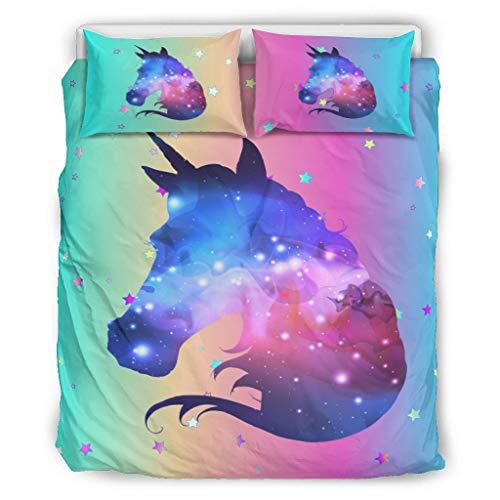 Dofeely Unicorn Chic Design Beddingsset, dekbedovertrek en kussensloop, ademend, 100% polyester, wit, 168 x 229 cm