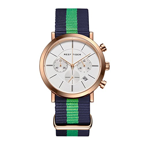 REEF TIGER Heren Horloge Analoog Quartz Ultra dunne Case met Gouden Toon Armband RGA162-PWLNL